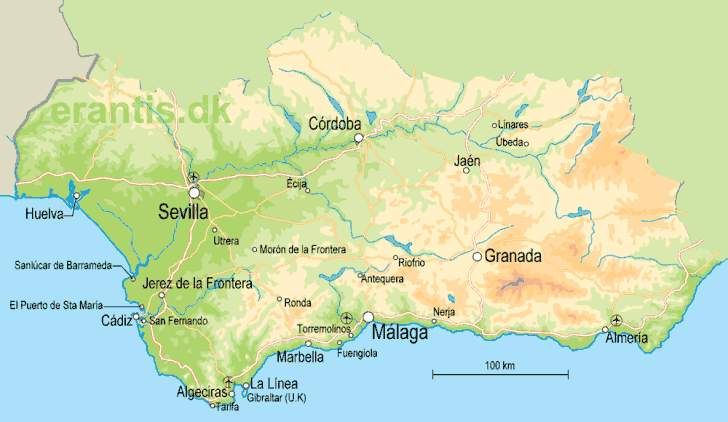 kort over malaga og omegn